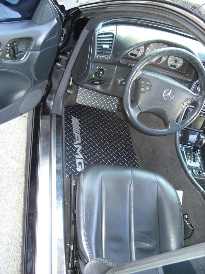 Mercedes-Benz CLK AMG  96-03 Black METAL diamond mats Solid Aluminum