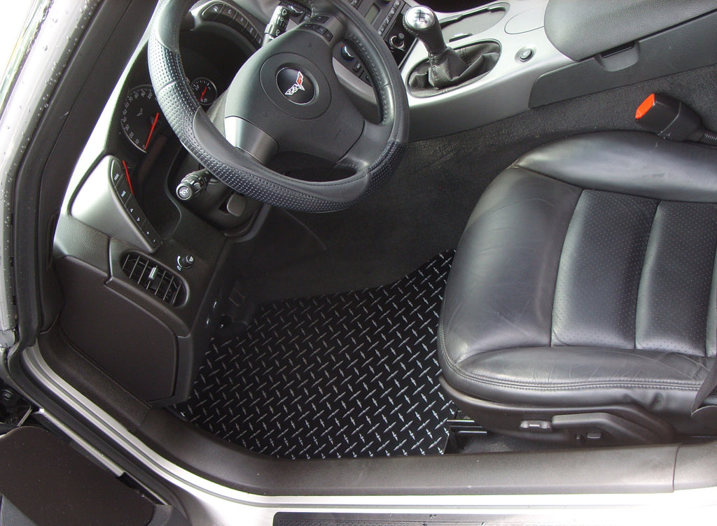Corvette C7 2013-2019 Aluminum tread plate floor mats. Black METAL diamond finish