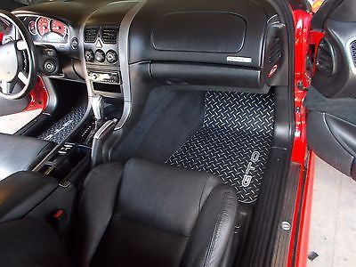 Pontiac GTO 04-06  Front set Black METAL diamond plate floor mats.
