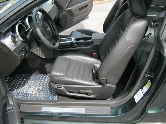 Mustang 05-14 Bullit Metal floor mats.  Aluminum diamond tread plate polished finish