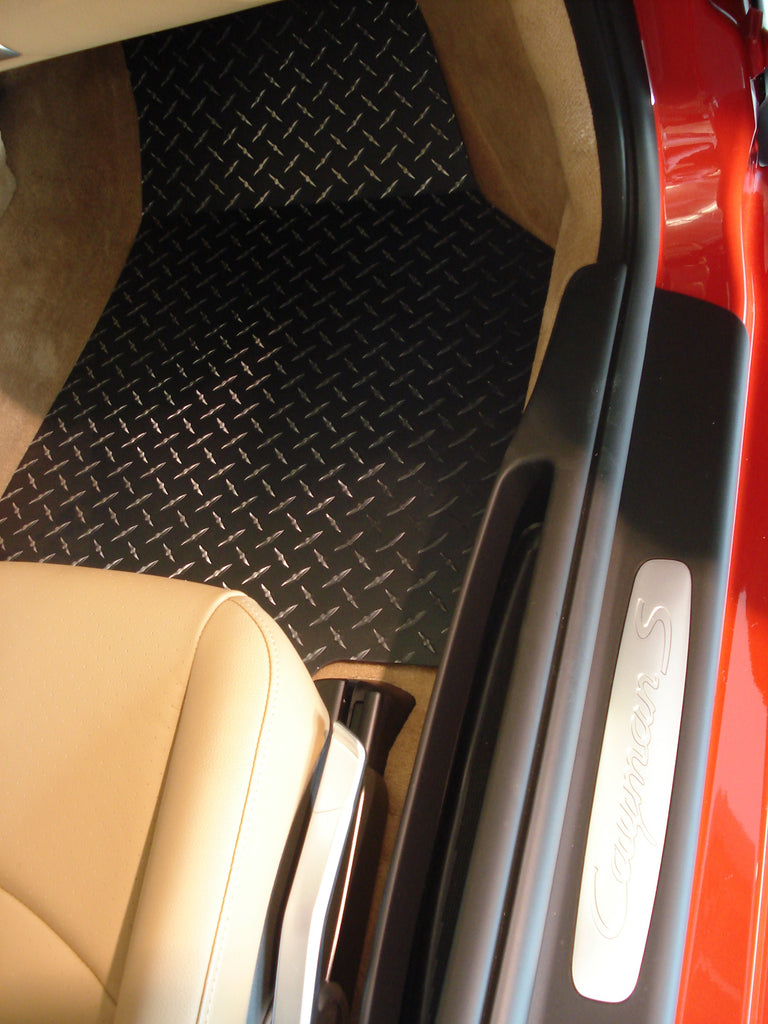 987 Boxster / Cayman  05-12  Black METAL diamond mats Solid aluminum