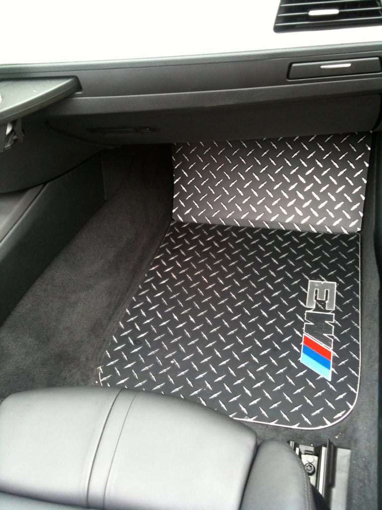 BMW M3 07-12 Sedan Coupe  Black & Metal diamond floor mats.  Custom shaped Front ,rear + foot