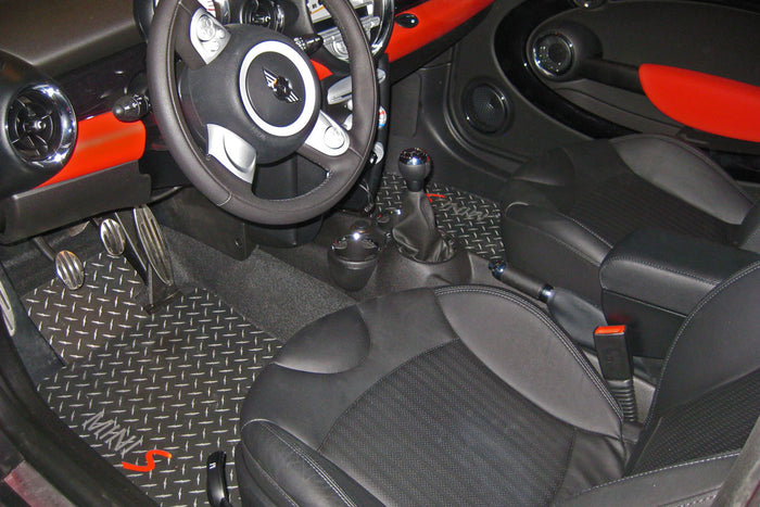 Mini Cooper S R55 CLUBMAN   07-13 Black Metal diamond plate floor mats,  front and Rears