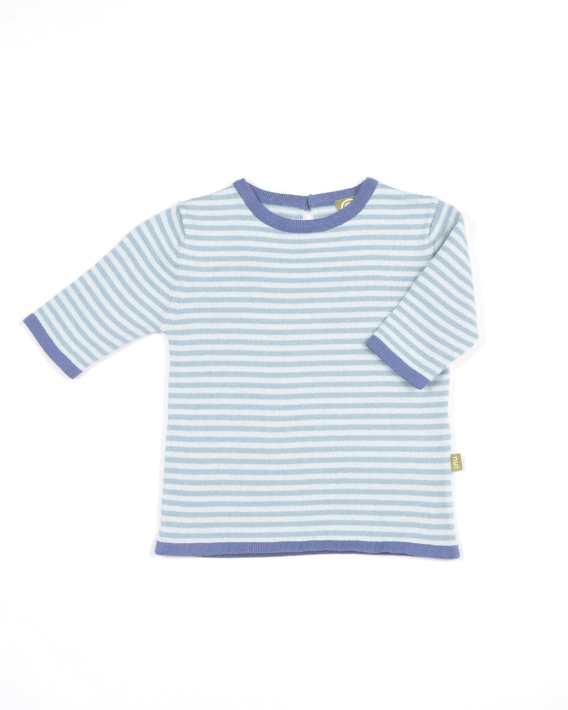 nui organic cotton knit dottie top shown in teal stripe