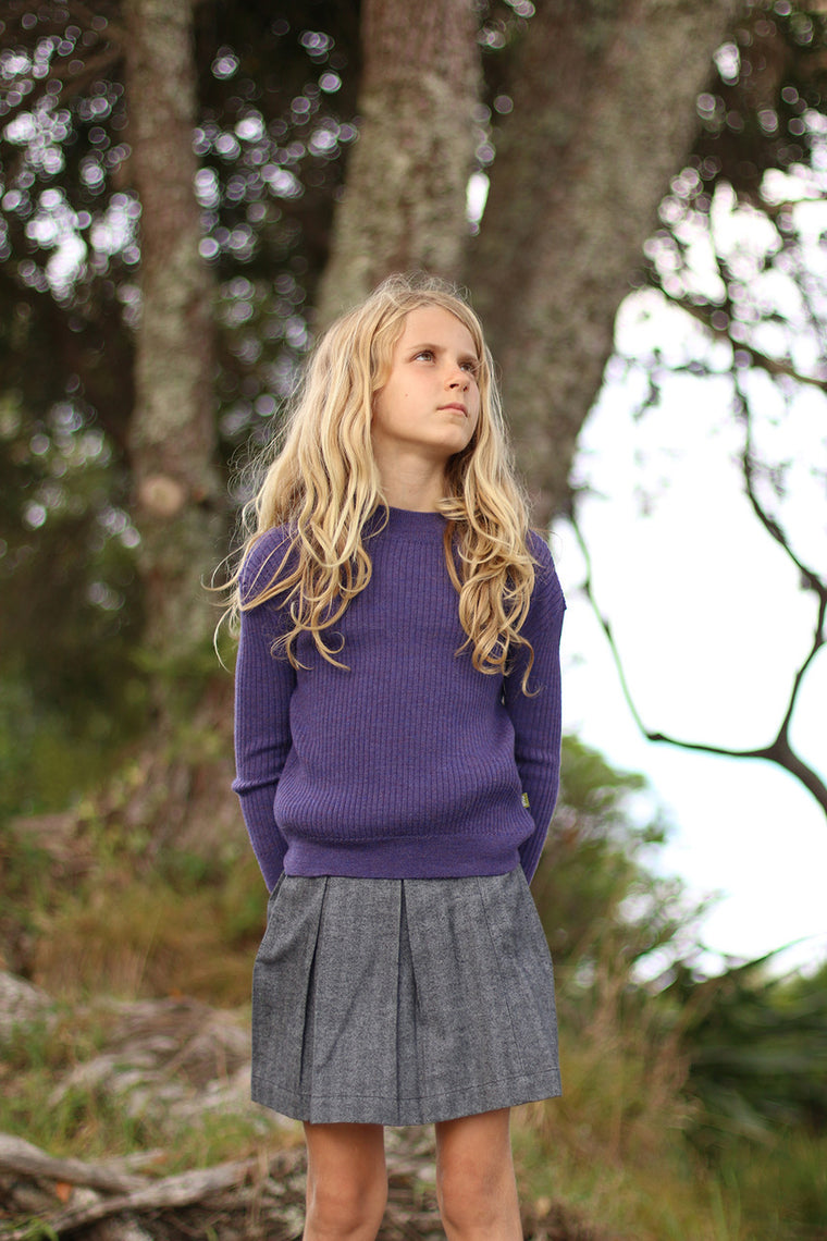 nui organic cotton pleated kris skirt in organic flannel.