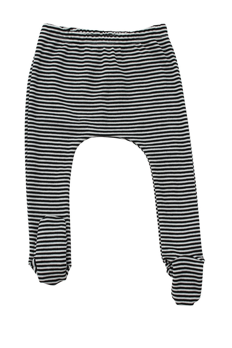 Merino Thermal Footed Pants B+W Stripe