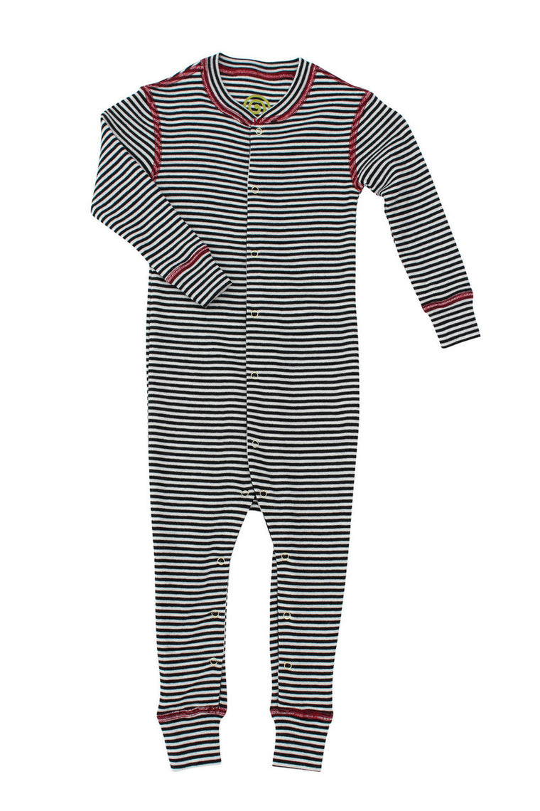 Merino Thermal Romper B+W Stripe