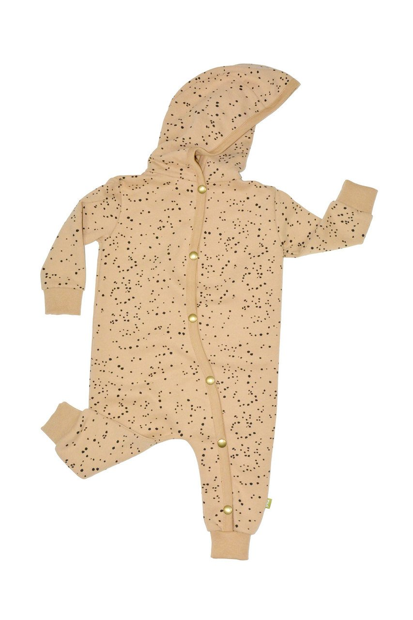 nui organic cotton fleece kamera romper toffee