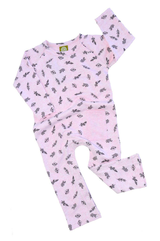 nui organic cotton karati romper rose flower