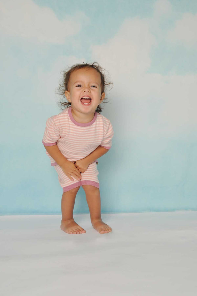 nui organic cotton betty bloomer shown in pink stripe