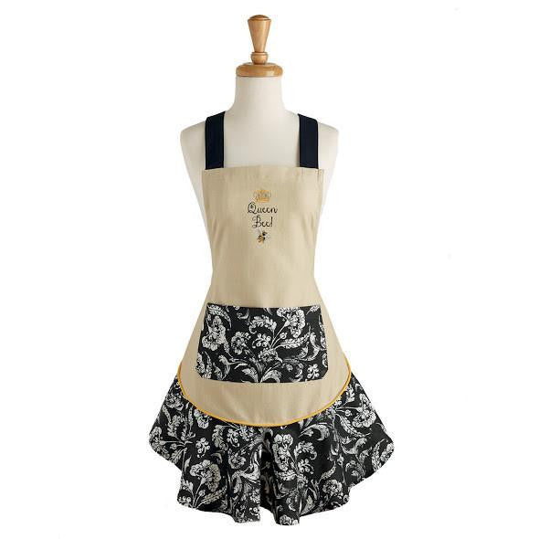 Apron - Adult Queen Bee Embroidered Ruffled Apron