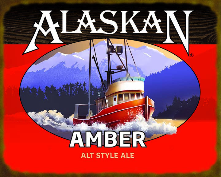amber ale wooden sign � alaskan brewing co