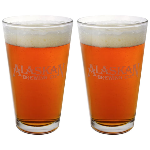 2 Etched Pint Glasses