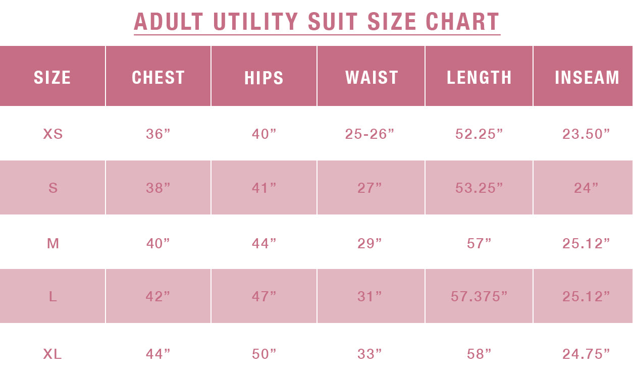 Noble Size Guide - Adult Utility Suit