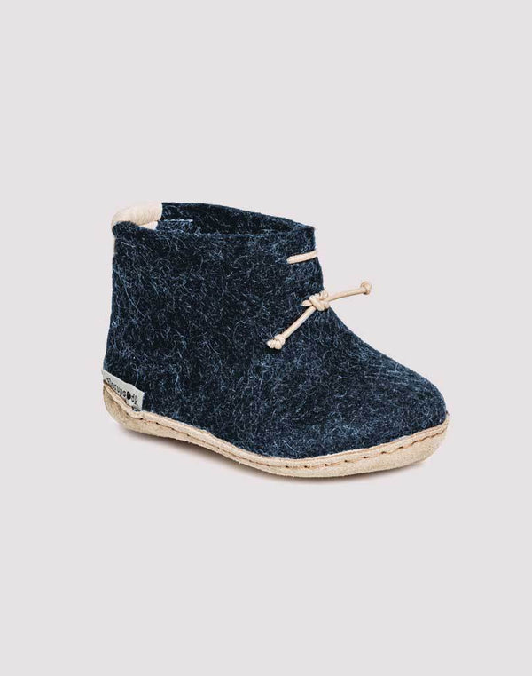 Glerups Wool Baby Boots in Denim