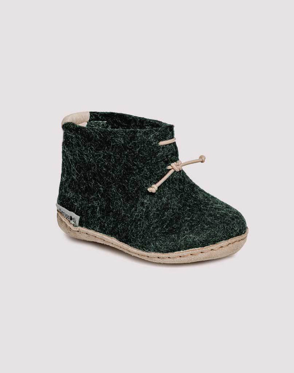 Glerups Wool Baby Boots in Forest Green