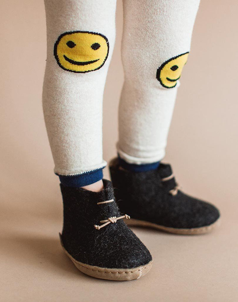Charcoal Glerups Wool Baby Boots and Smiley Face Leggings