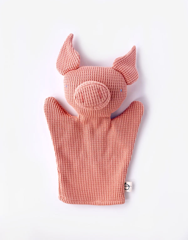 Noble X Ouistitine Waffle Piggy Puppet in Pink Sea Salt