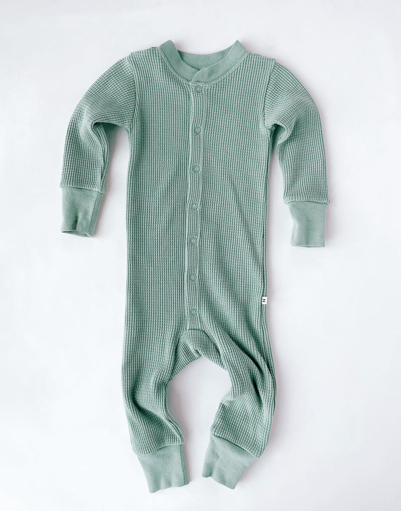 Noble Organic Waffle One-Piece Sleeper in Sage