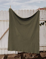 Noble Organic Waffle Blanket in Olive