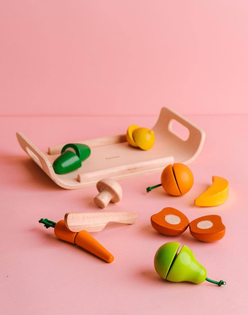 PlanToys Wooden Fruit & Vegetable Set (18M+)