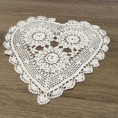 "Rosette Heart Shaped Doilies White 10"" Inch Set of 12"