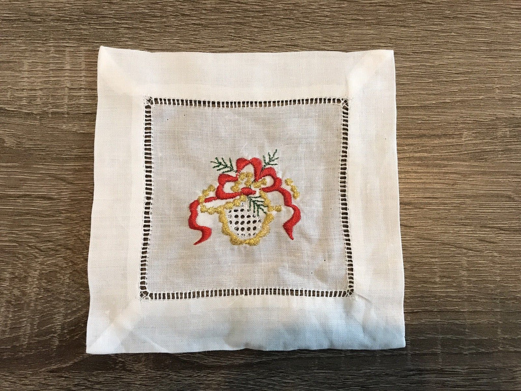 "Christmas Golden Ribbon  Cocktail Napkin 6"" Inch"