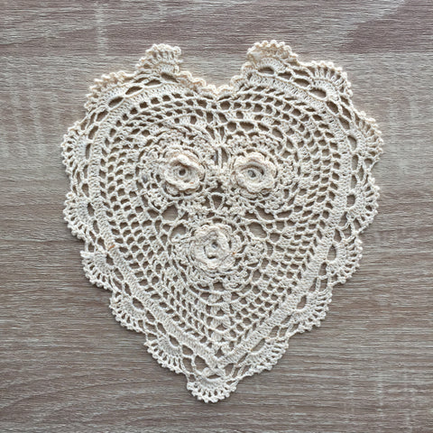 "Rosette Heart Shaped Doilies Ecru 10"" Inch Set of 12"