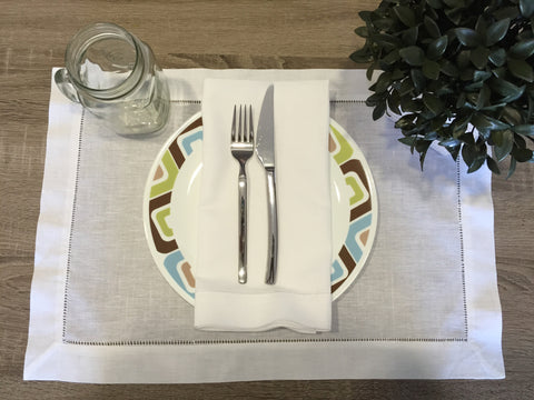 Hemstitch Placemat White 14x20 Inch Set of 4