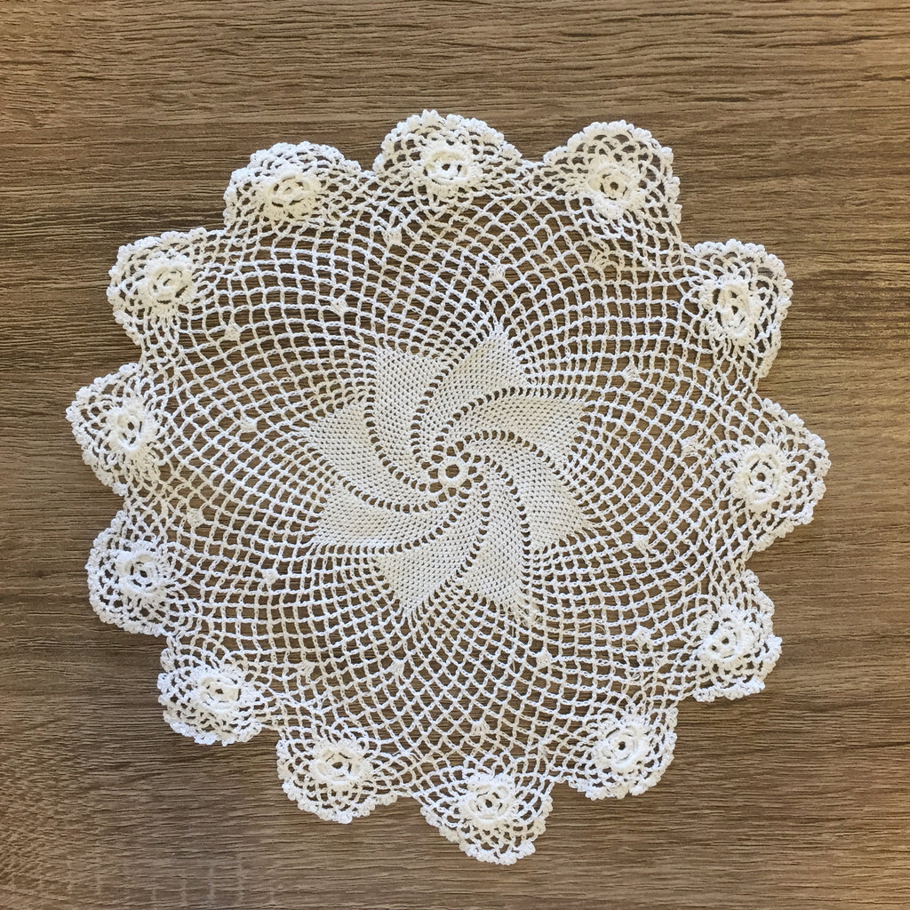 "Plum Rose Doilies Round White 8"" Inch Set of 12"