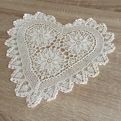"Strawberry Heart Shaped Doilies Ecru 12"" Inch"