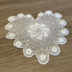 "Plum Rose Heart Shaped Doilies White 6"" Inch Set of 12"