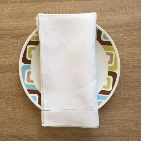 "Hemstitch Dinner Napkin White 22"" Inch"