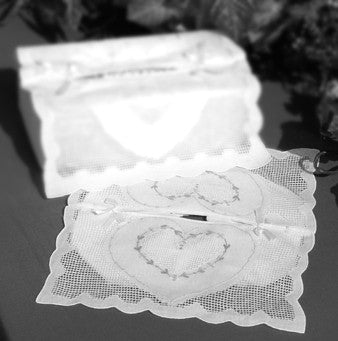 Heart  Embroidery Kleenex Cover - White
