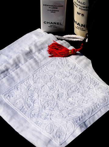 Romantic Battenberg Lace Sachet Bag - White