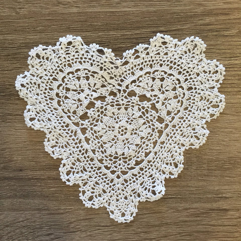 "Strawberry Heart Shaped Doilies White 6"" Inch Set of 12"