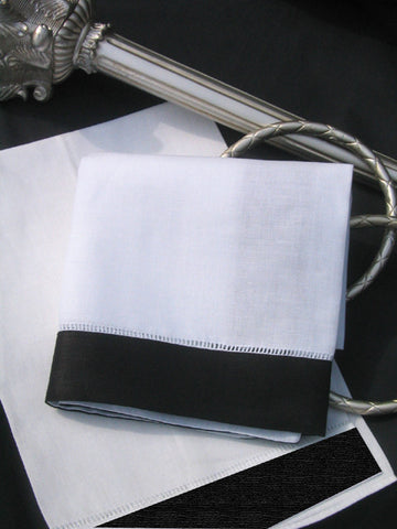 Black Border Hemstitch Guest Towel