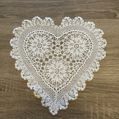 "Strawberry Heart Shaped Doilies White 10"" Inch"