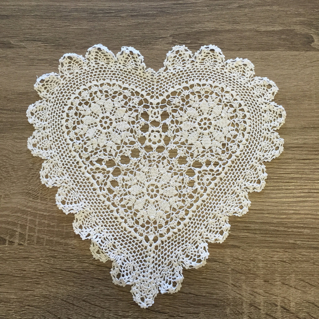 "Strawberry Heart Shaped Doilies White 12"" Inch"