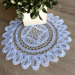 "Battenburg Lace Doilies Round White 12"" Inch"