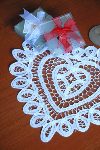 "Battenburg Lace Heart Shape Doilies White Dozen 6"" 8"" 10"" Inch"