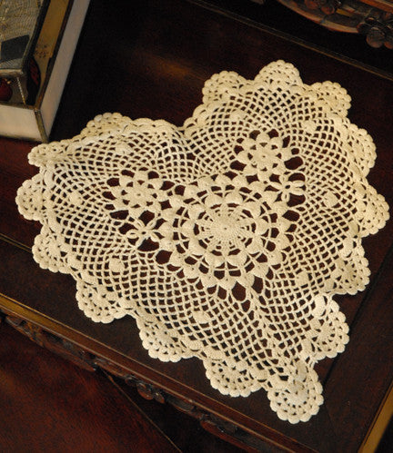 "Poppy Heart Shaped Doilies  Ecru 10"" Inch"