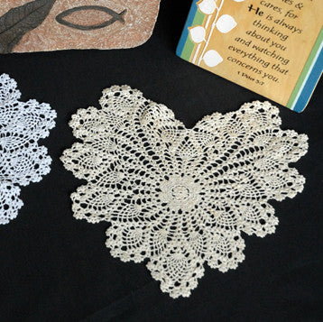 "Pineapple Heart Shaped Doilies Ecru 8"" Inch"