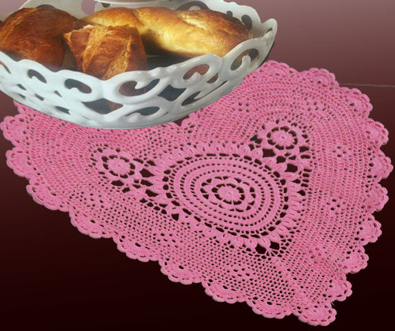 "Poppy Heart Shaped Doilies Pink 12"" Inch"