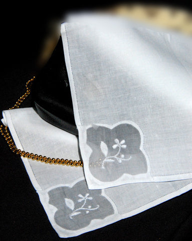 Dancing Petal Handkerchief White