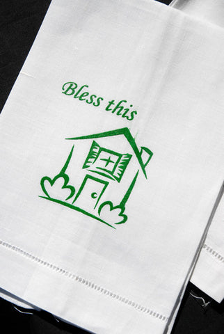 Bless This House Hemstitch Guest Towel 12x18 Inch
