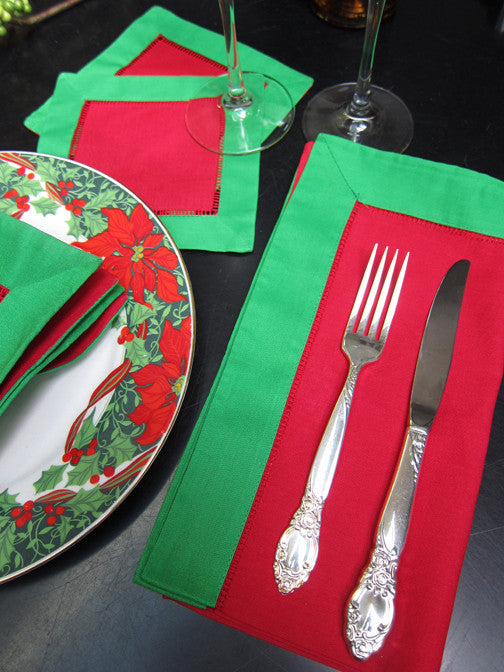 "Red with Green Border Hemstitch Napkin 18"" Inch"