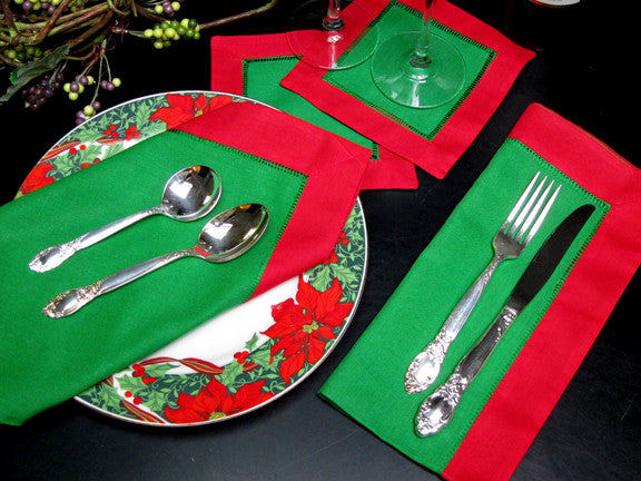 "Green with Red Border Hemstitch Napkin 22"" Inch"