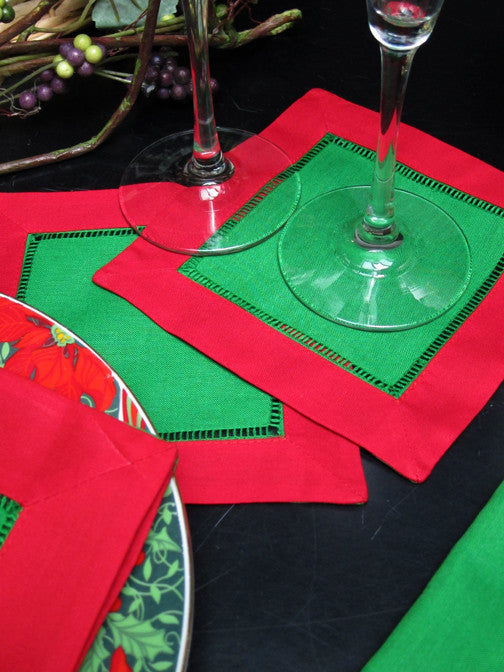 "Green with Red Border Hemstitch Napkin 6"" Inch"