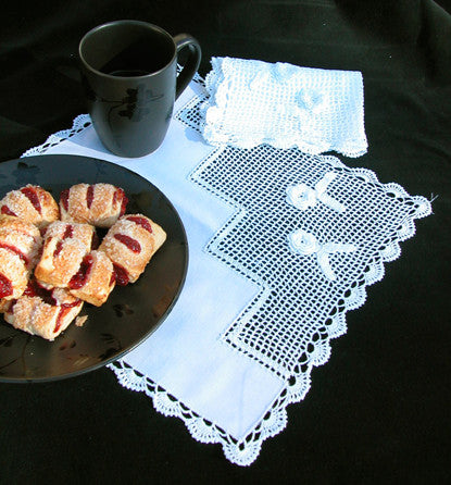 "Crochet Rose Tea Napkin 12"" Inch"